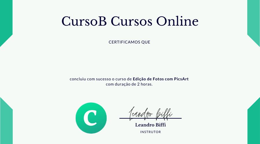 certificado curso de picsart